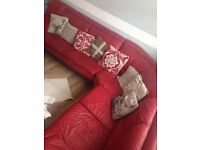 Red leather corner sofa for sale