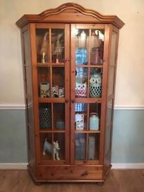 Solid wood pine glass cabinet