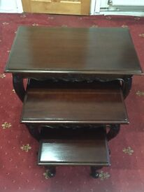UNIQUE NEST OF THREE COFFEE TABLES - MAHOGANY WOOD (NEVER USED)
