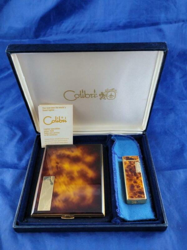 Vintage Colibri Lighter & Cigarette Case Set Tortoise Monogrammed Initials