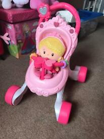 Pink stroller walker with doll