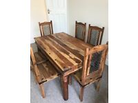 Indian oak table and six chairs