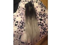 Black and grey hair extensions