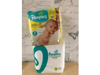 X2 packets Pampers nappies size 1 4-11 lb