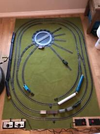 Hornby railway with turntable and lots of trains