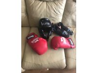 Kick boxing gloves shoes and helmet