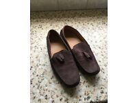 pair of chocolate brown suede loafers only worn once