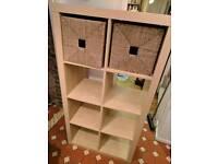 Ikea birch Kallax storage unit with baskets