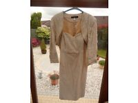 2 piece shot silk Mother of the Bride outfit with dress and Bolero Jacket size 14