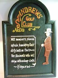 Humerous Wooden Wall Hanging - St.Andrews Golf Club Notice About Ball Wiping !!