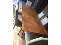 6 seater oak table and chairs