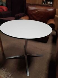 Contemporary White Round Table With Chrome Base - Dining - Cafe - Restaurant