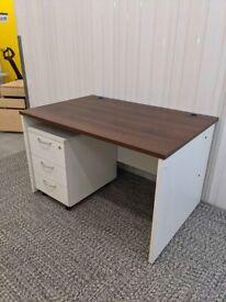 FREE SAME-DAY DELIVERY - Walnut Rectangular Panel Leg Office Desk, 1200mm Wide