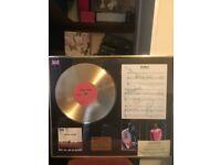 Signed Oasis framed gold vinyl