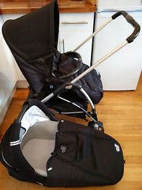 Compact fold Streety pushchair and carrycot