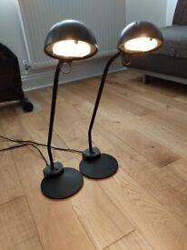 Desk lamp, black, halogen bulb, adjustable head