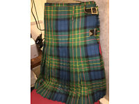 "Fabulous Quality Gents Heavy Scottish 100% Pure Wool Tartan Plaid Kilt 40"" Waist"