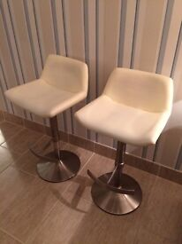2 x Cream Leather effect Barstools