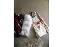 Cricket bag,bat,ball and clothing