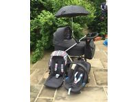 Mama's and Papa's Sola travel system, car seat, carrycot and pushchair