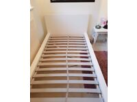 IKEA White Single Bed (Malm) with upgraded sprung wooden slat base