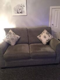 Grey sofa, chair and footstool
