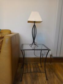 Stylish modern wrought iron side table and matching lamp
