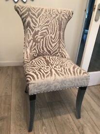 Silver Zebra Velvet Dining Chairs Pair. Brand New Never Used.