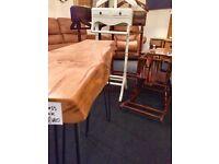 Live edge handmade oak console table