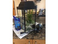 Fish tank and stand. Includes pump and heater