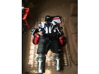 Ice Hockey Pads Full Kit (Senior Size Small/Medium) with Wheeled Kit Bag