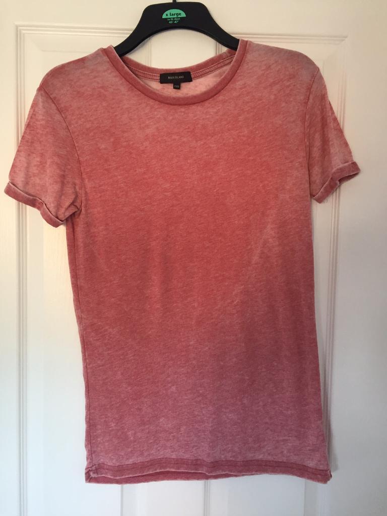 River island red tshirt mens size xxs