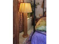 Gorgeous vintage 1970s style wood and woven cane standard floor lamp