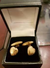 Stunning 18ct Gold stamped Antique Heart Shaped Victorian Cufflinks.