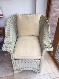 Painted Willow Chair and Matching Footstool