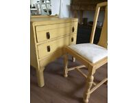 Vintage dressing table/chest of drawers with matching chair. Rustic/shabby chic. Mustard yellow