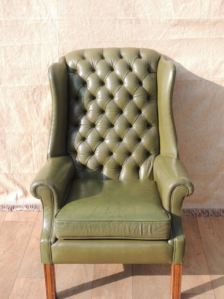 Leather Green Chesterfield Armchair High Back Delivery In Eltham