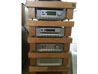 Cyrus stereo system with rack and Spendor speakers (oak)