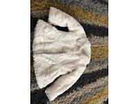 Mini club fur cream girls coat