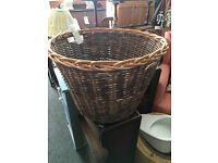 Charming Round Large Sturdy Woven Log Basket Firewood Storage
