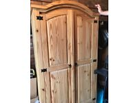 Wardrobe, pine, contains shelf at the top and rail for hanging - 1m wide x 1.9m high x 550mm deep