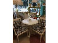 SMALL ROUND DINING TABLE & TWO CHAIRS** SHABBY CHIC **