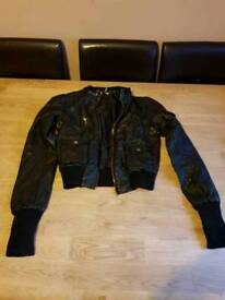 DKNY imitation leather coat jacket size 8