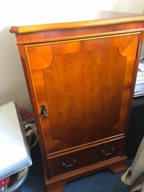 Solid yew wood side cabinet
