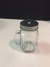 Glass Mason Jar Drinking Mugs (12)