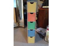 Narrow drawers multi coloured - suitable for child's bedroom 87cm x 21cm x16cm