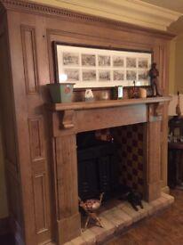 Solid oak fireplace. Hand built