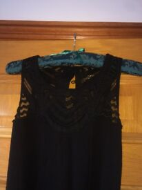 Next full length, Black bohemian style evening dress, petite size 14