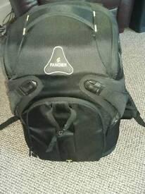 Black padded camera rucksack