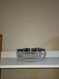 Vintage cut glass salad bowl with servers